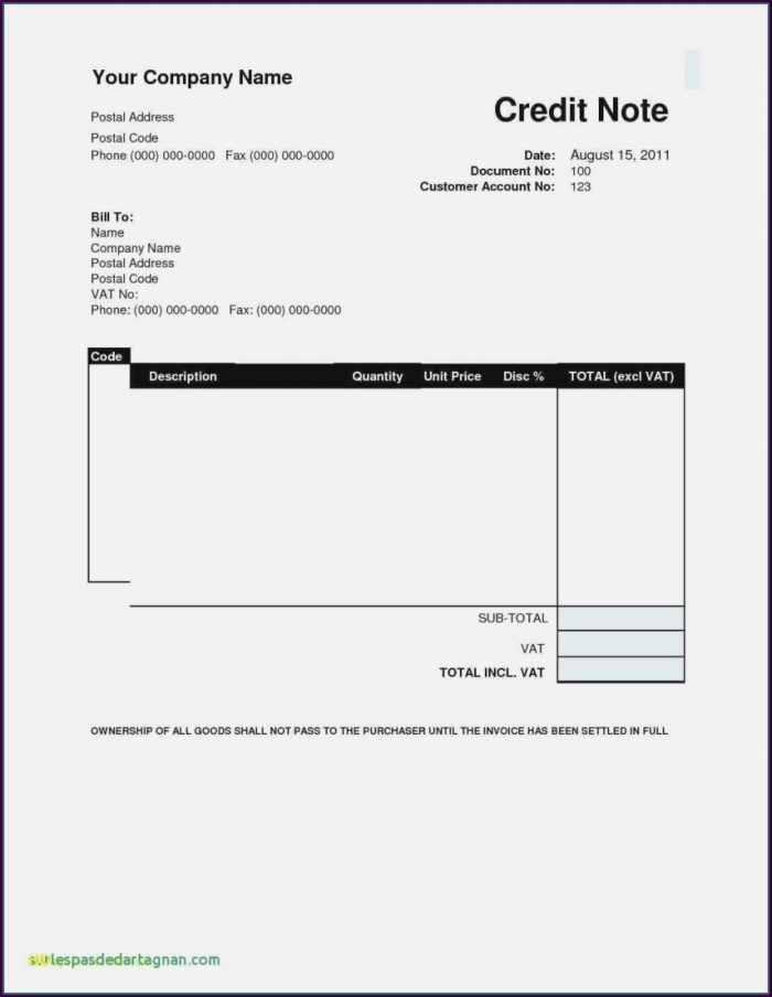 Free Sample Invoice Template Excel
