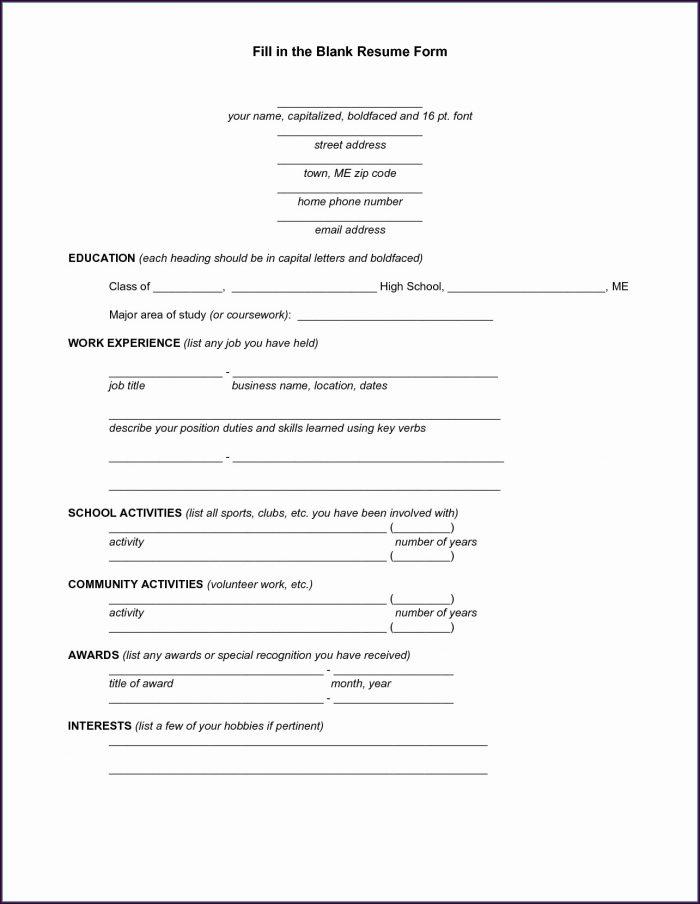 Free Sample Printable Blank Free Resume Templates