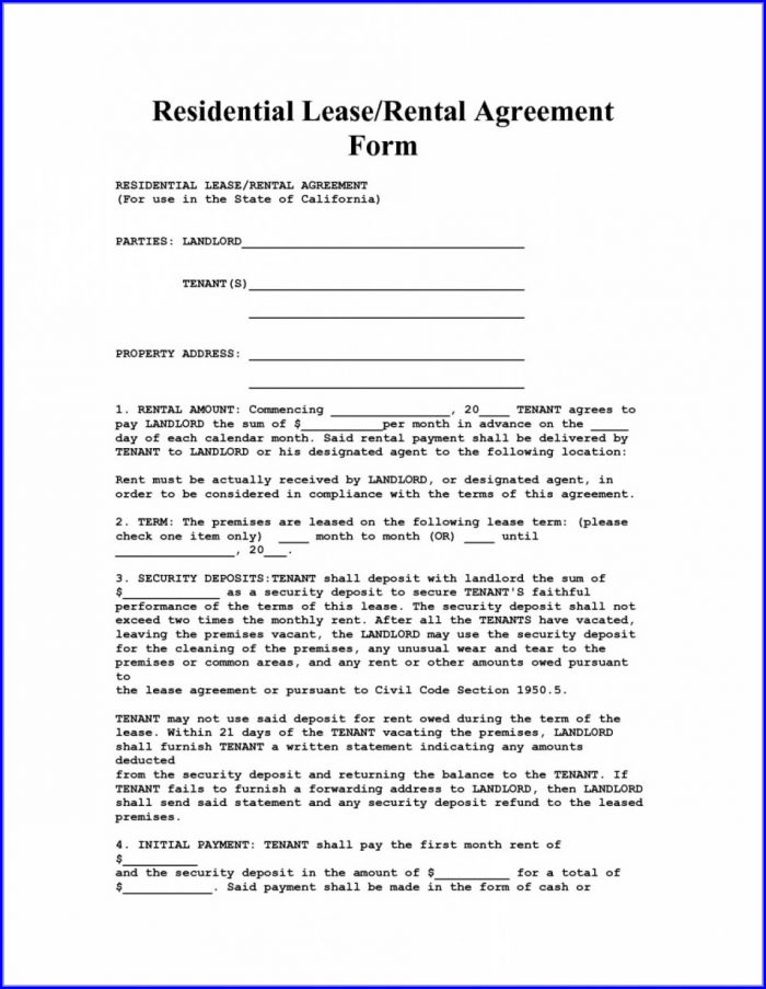 Free Simple Lease Agreement Template