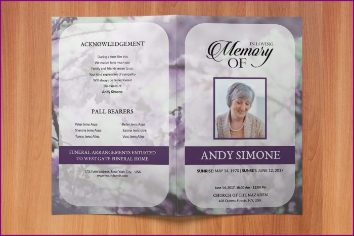 Funeral Program Obituary Template Word