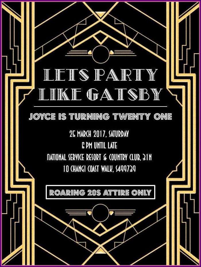 Gatsby Invitations Templates Free