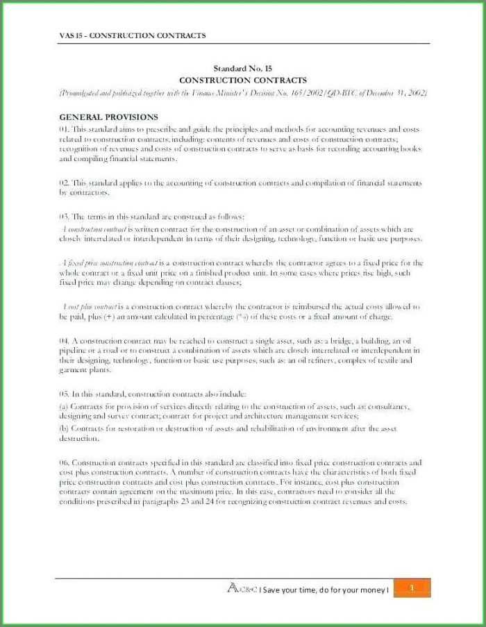 General Contractor Residential Construction Contract Template