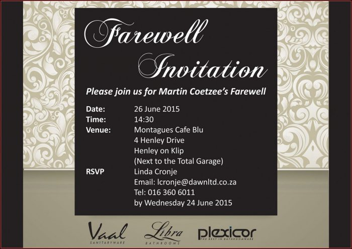 Going Away Invitation Template