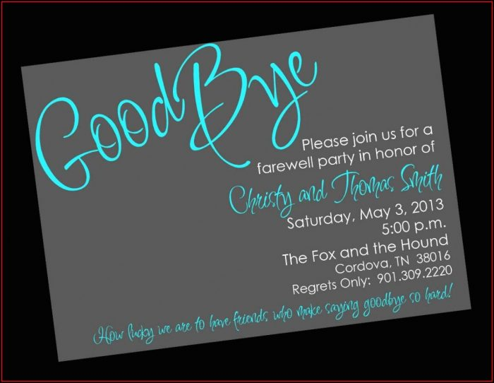 Going Away Invitation Template Free