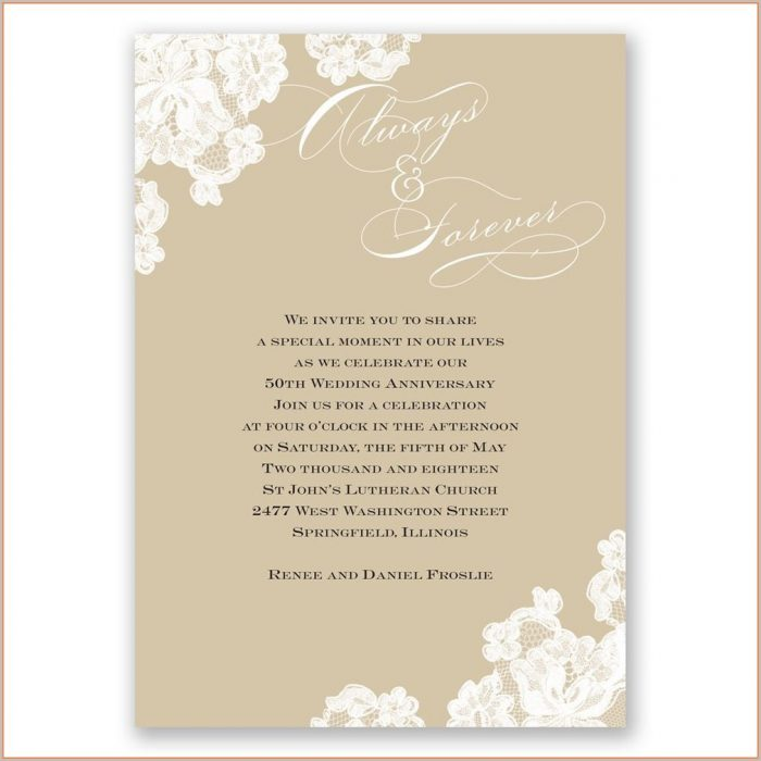 Golden 50th Wedding Anniversary Invitations Templates Free Download