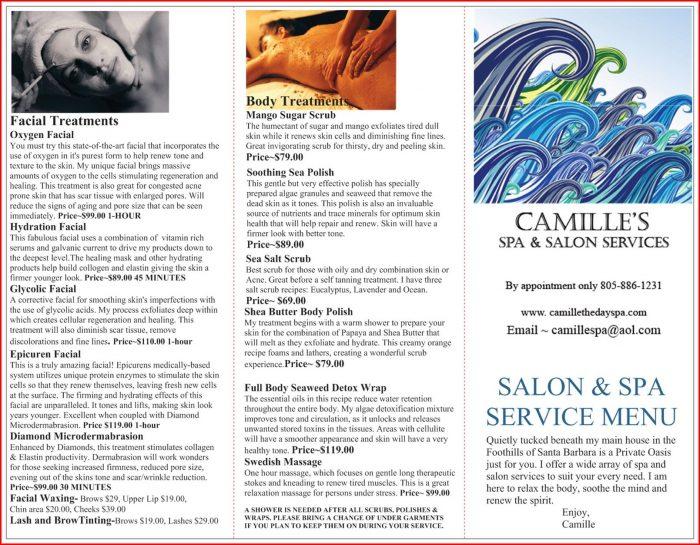 Hair Salon Service Menu Template