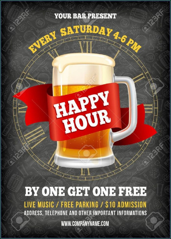 Happy Hour Invitation Flyer Template Free