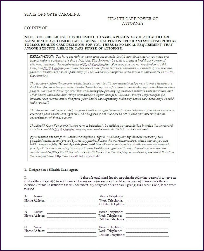 Health Care Power Of Attorney Template