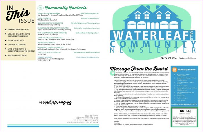 Hoa Newsletter Templates Word