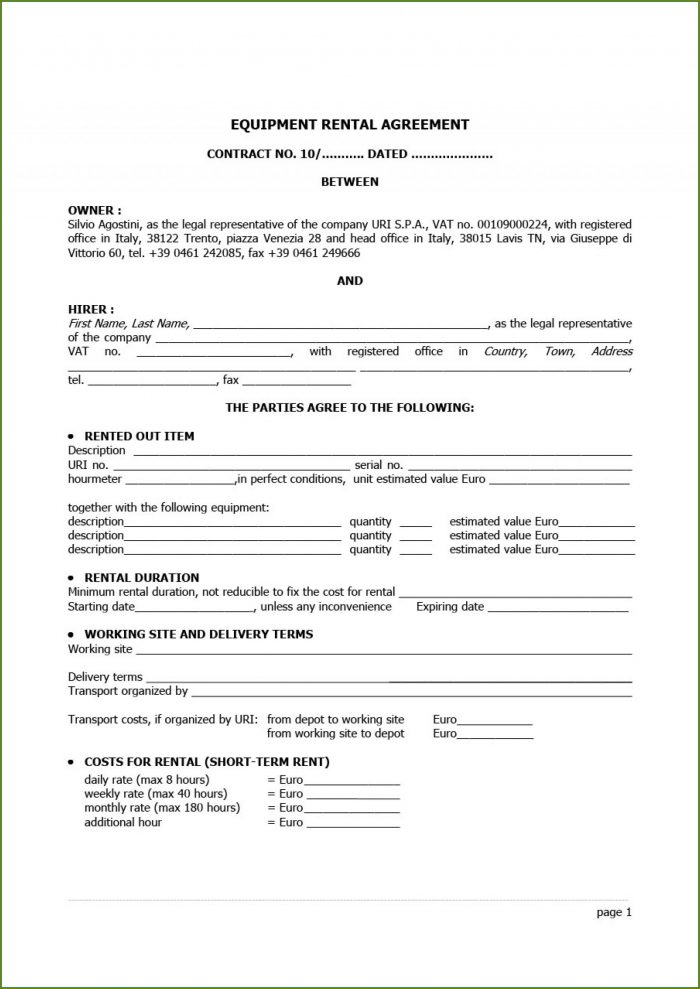 Home Rental Contract Template Free