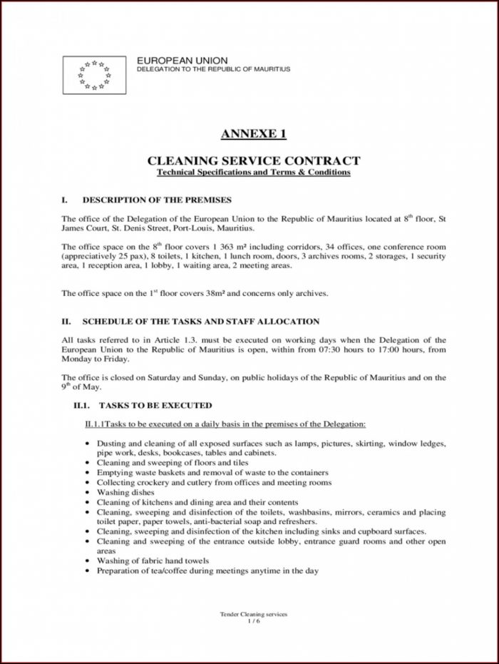 House Cleaning Service Contract Template