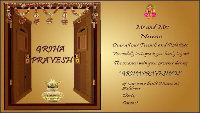 Housewarming Invitation Template India