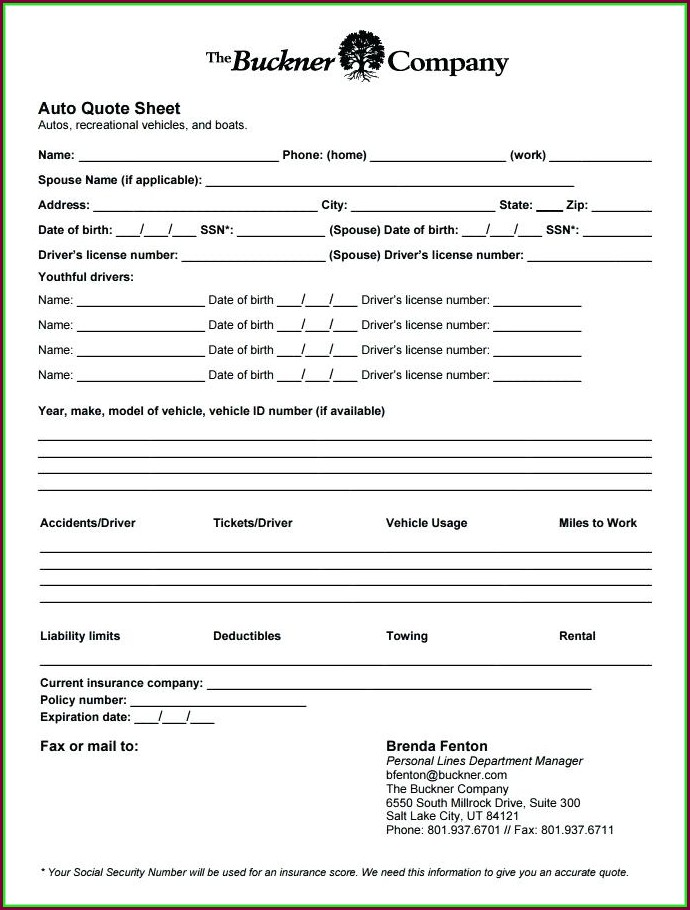 Insurance Quote Sheet Template