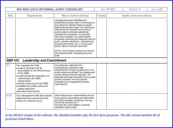 Internal Audit Schedule Template Iso 9001 2015