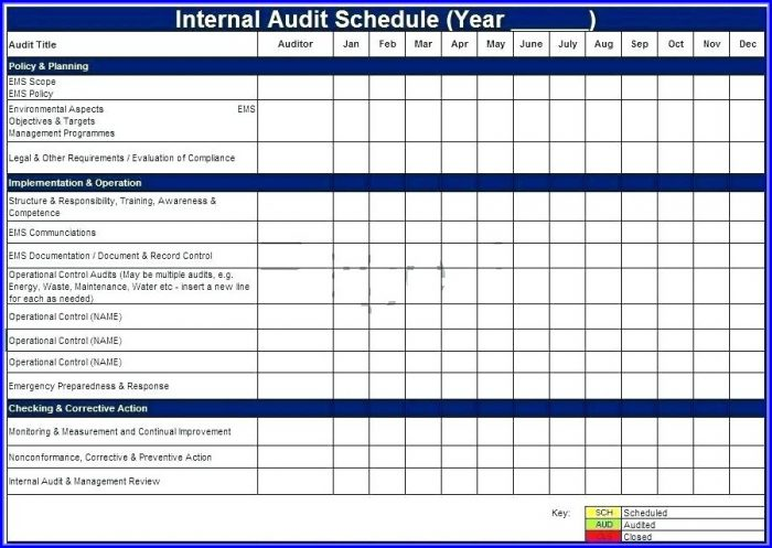 Internal Audit Schedule Template Iso 9001
