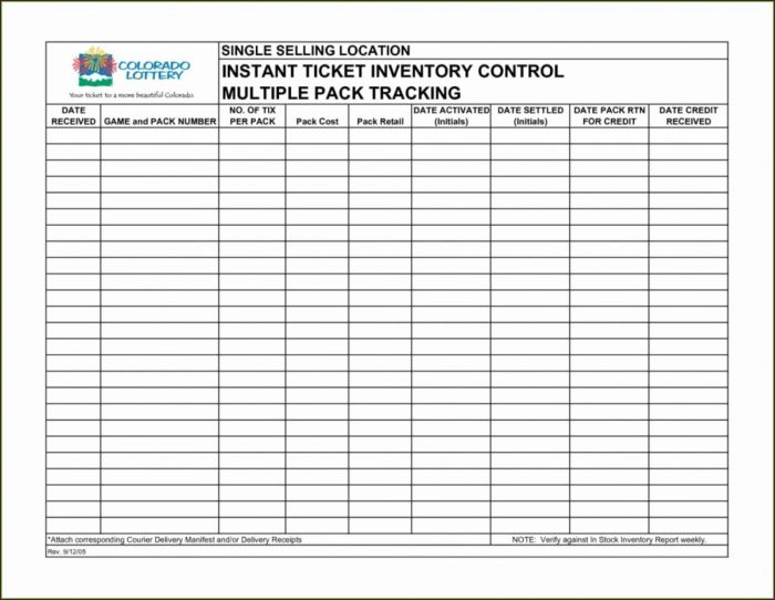 Inventory Control Sheet Template