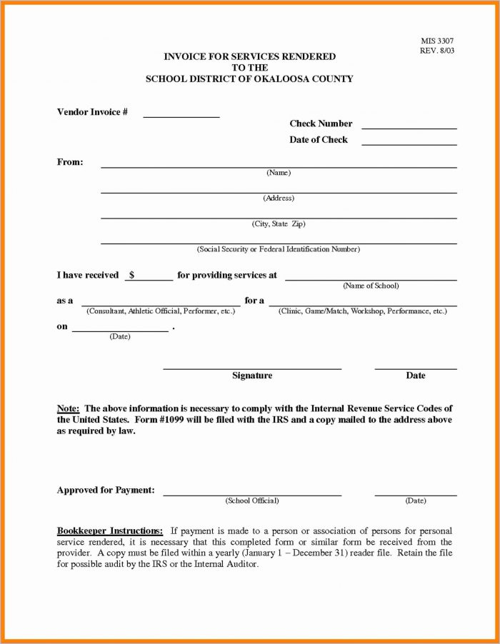 Invoice Template For Services Rendered