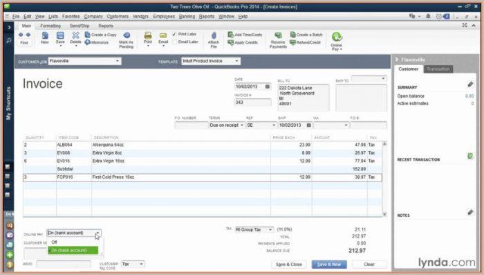 Invoice Templates For Quickbooks Online
