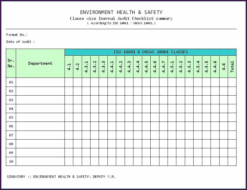 Iso 9001 Audit Plan Template