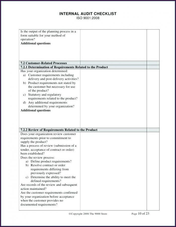 Iso 9001 Internal Audit Checklist Template