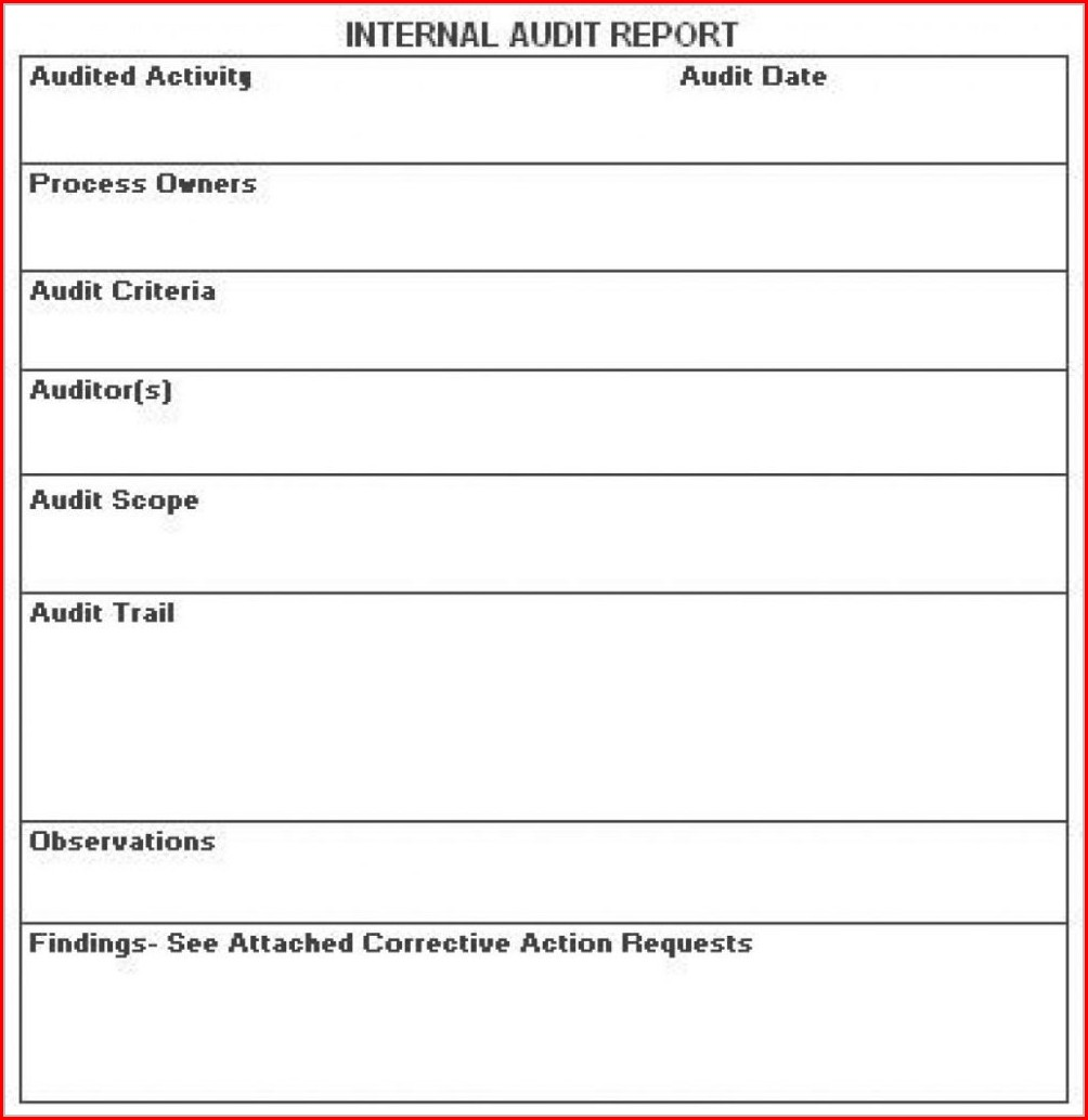 Iso Internal Audit Report Template Templates-2 : Resume