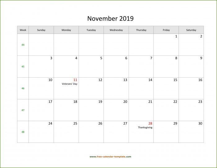 Large Print Calendar Template Free Printable November 2019 Calendar