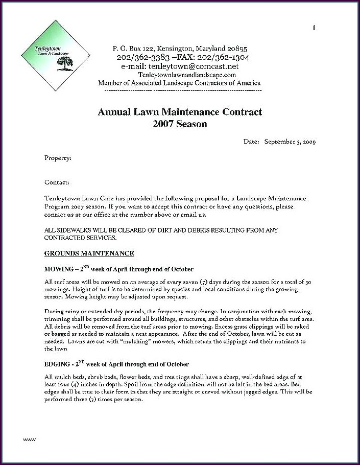Lawn Maintenance Contract Template Free