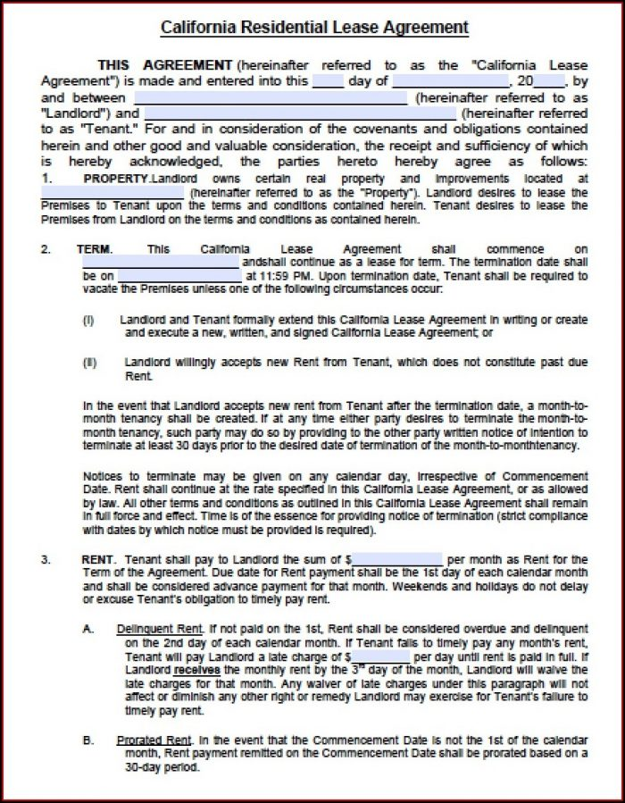 Lease Agreement Template Doc