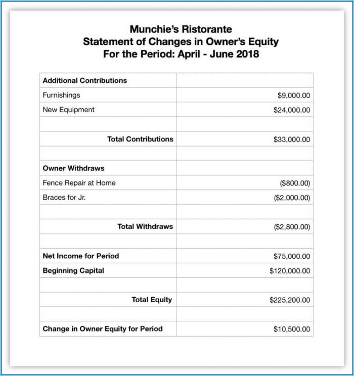 Llc Financial Statement Template