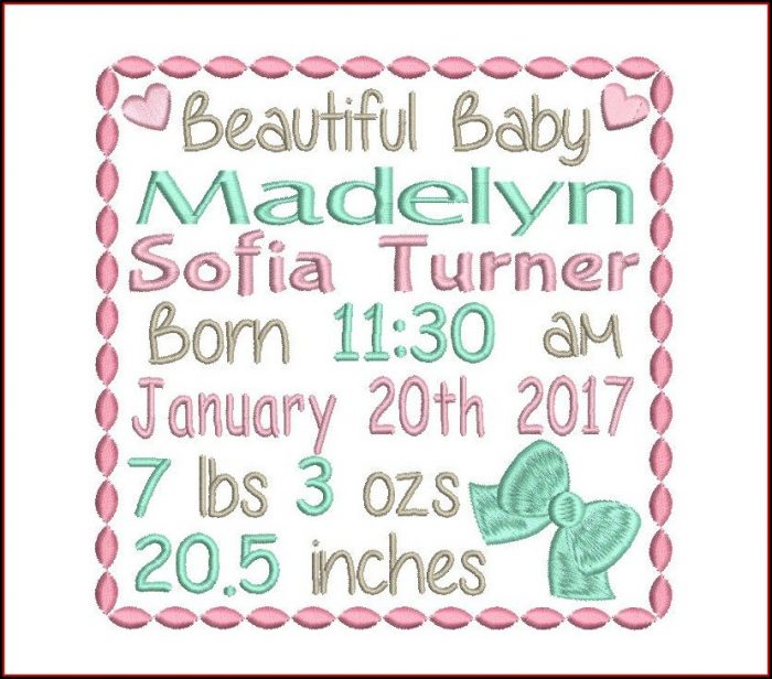 Machine Embroidery Birth Announcement Template