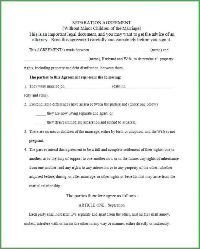 Marriage Separation Separation Agreement Ontario Template