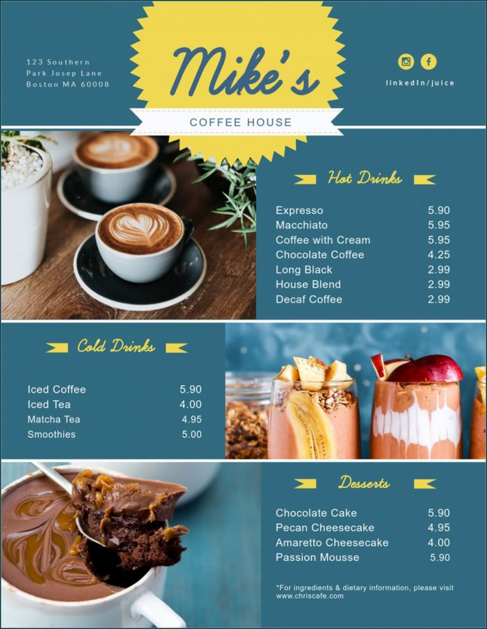 Menu Card Design Templates Free Download