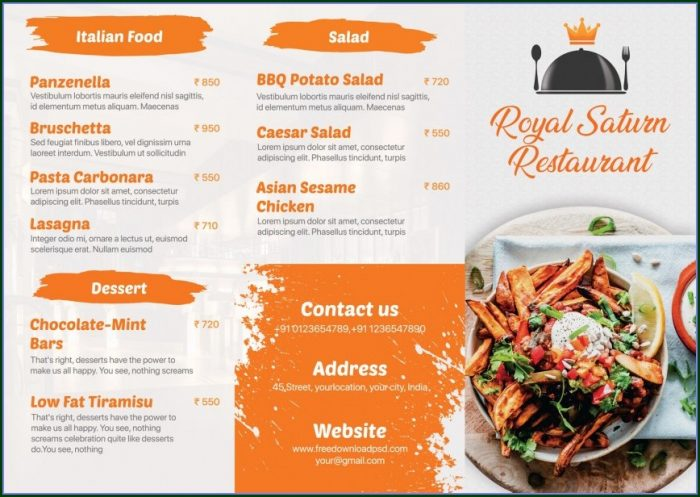 Menu Design Templates Free Download