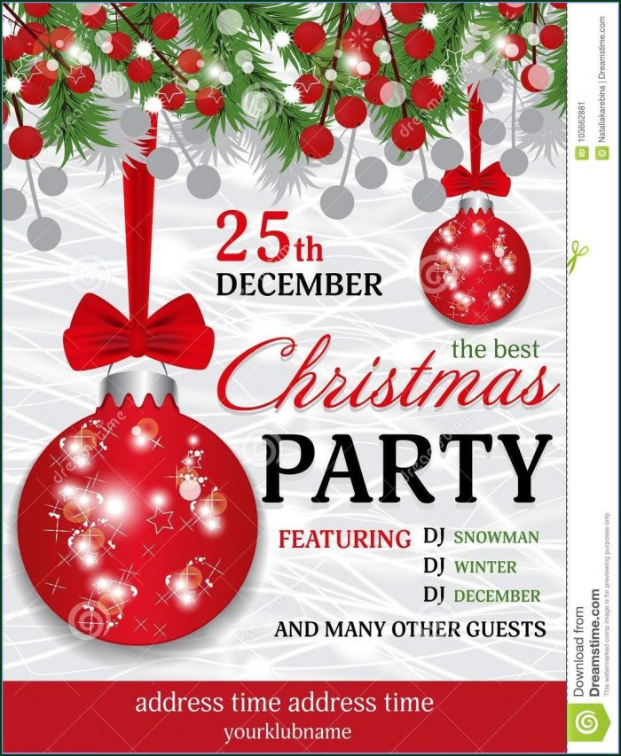 Merry Christmas Downloadable Free Christmas Party Invitation Templates