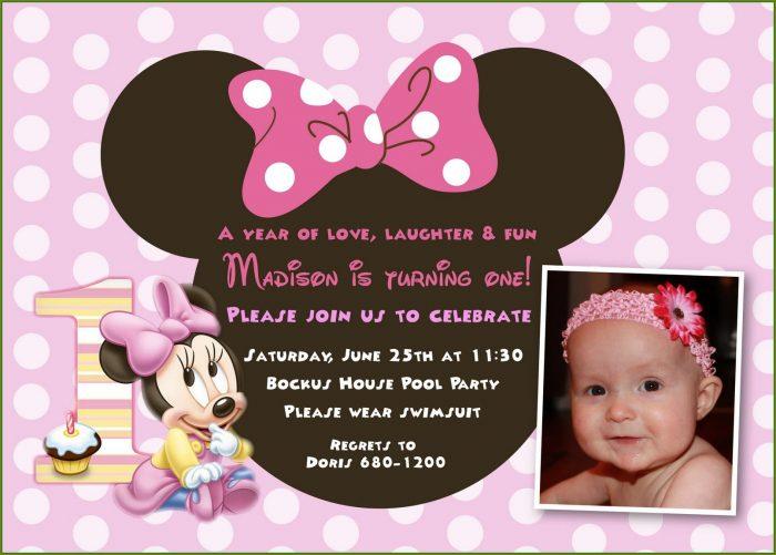 Minnie Mouse 1st Birthday Invitations Templates