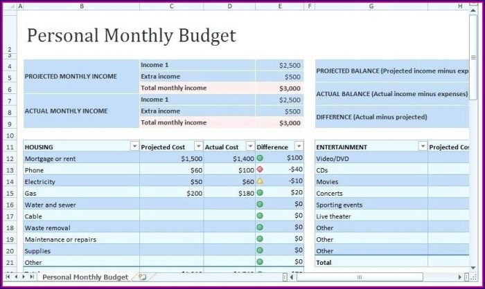 Monthly Expense Sheet Excel Template India