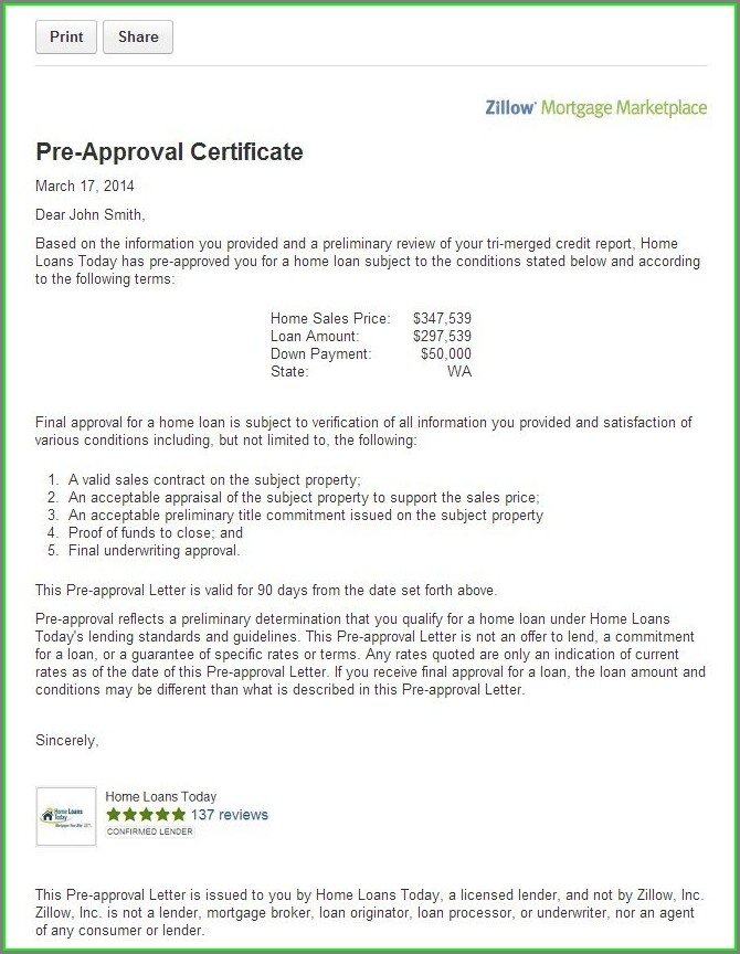 Mortgage Pre Approval Letter Template