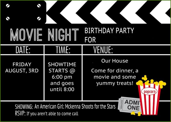 Movie Party Invitation Template Free