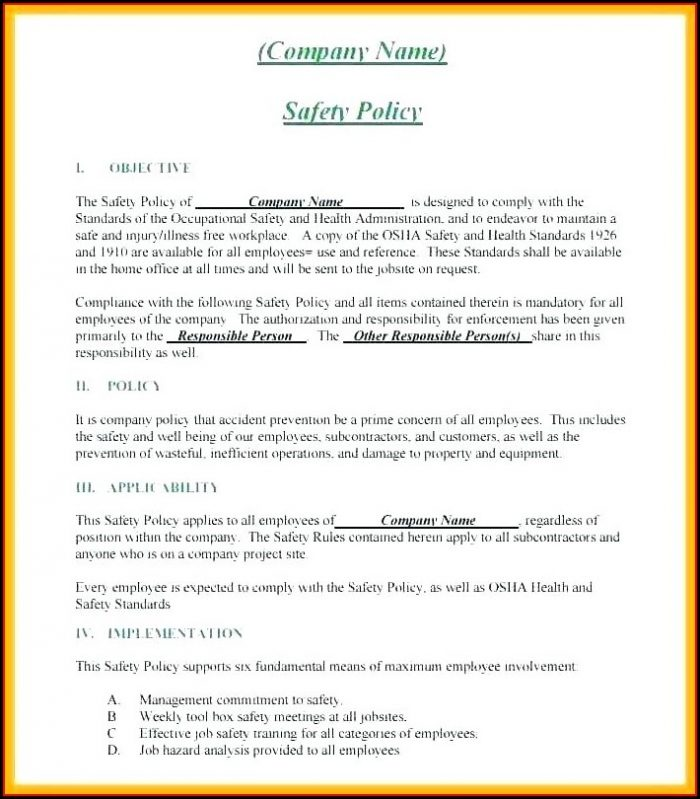 Osha Health And Safety Plan Template