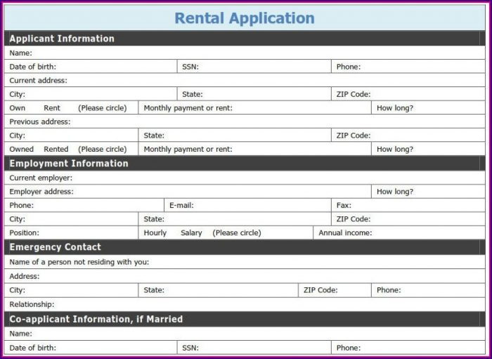 Pdf Printable Rental Application Template
