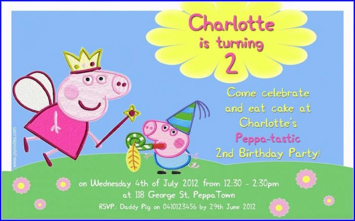 Peppa Pig Birthday Party Invitation Template Free