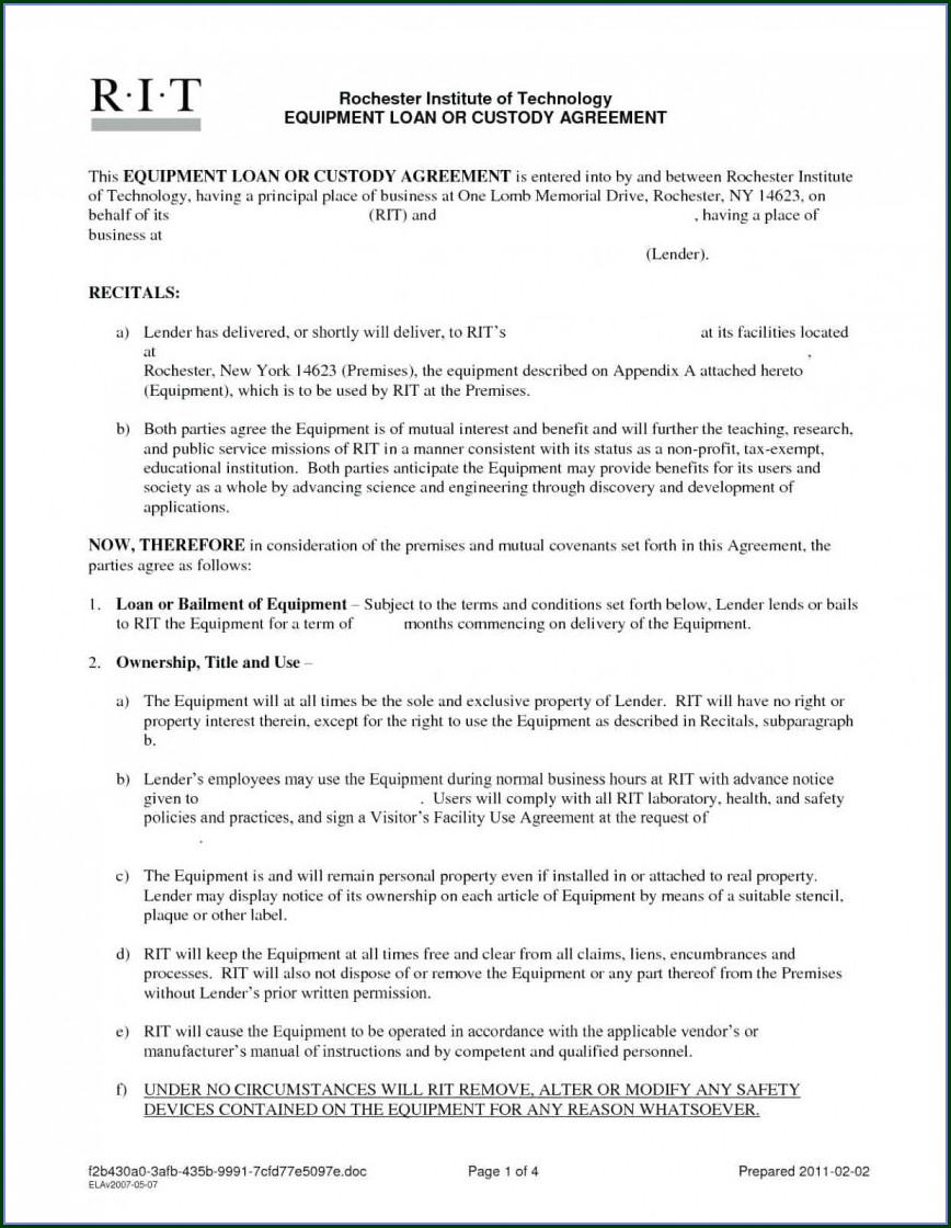 Personal Loan Agreement Template Free Download Nz