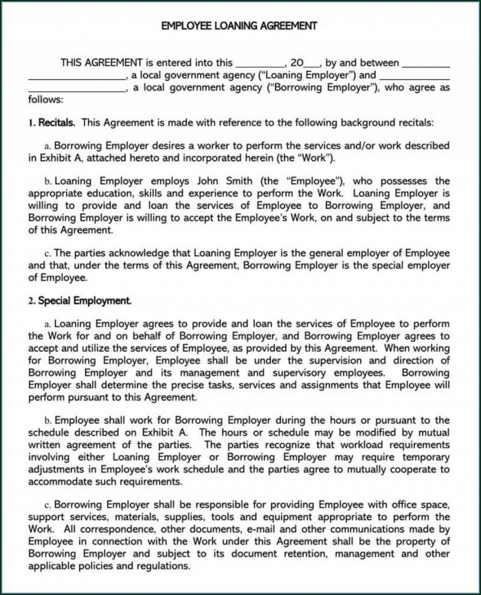 Personal Loan Agreement Template Free Download Uk