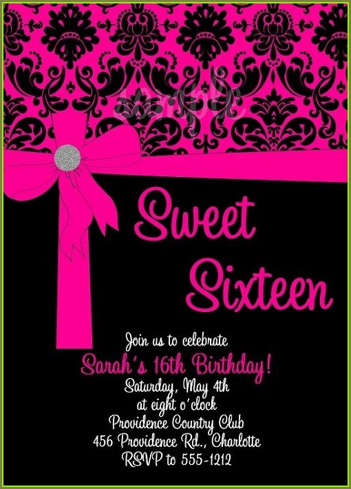 Pink And Black Birthday Invitation Templates