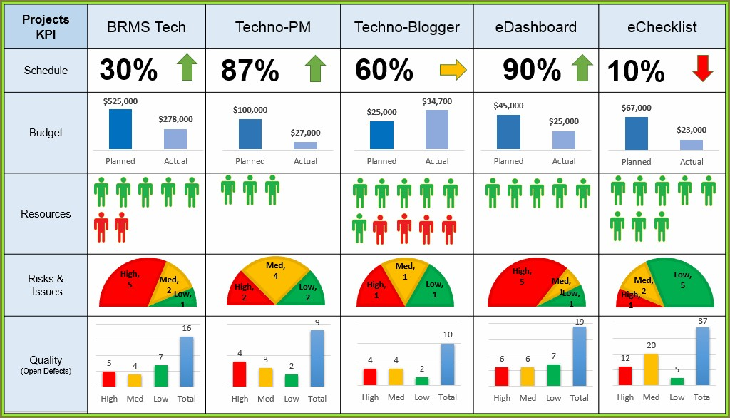 Pmo Dashboard Template Excel
