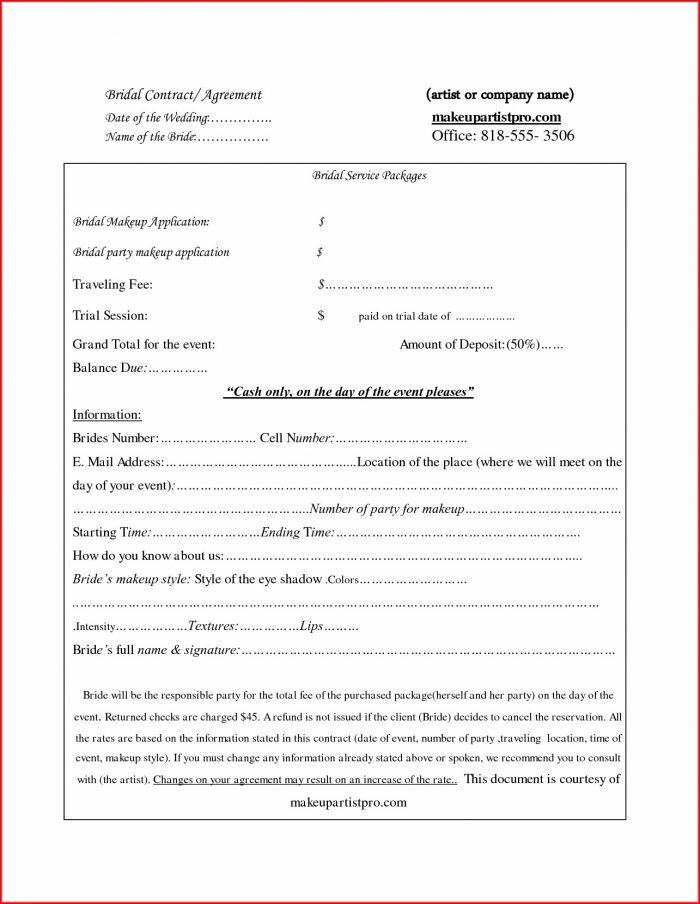 Printable Bridal Hair Contract Template