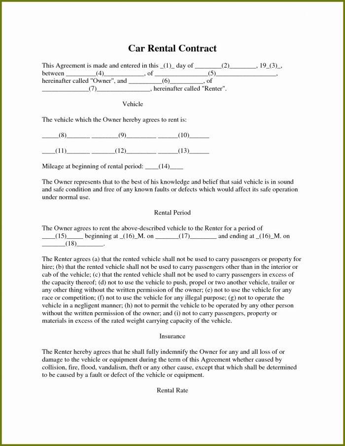 Printable Car Lease Agreement Template