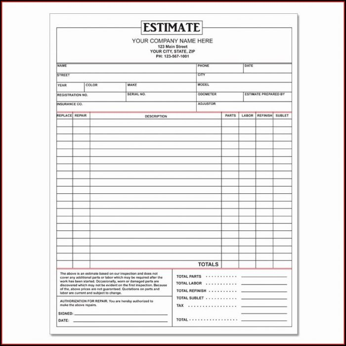 Printable Car Repair Estimate Template