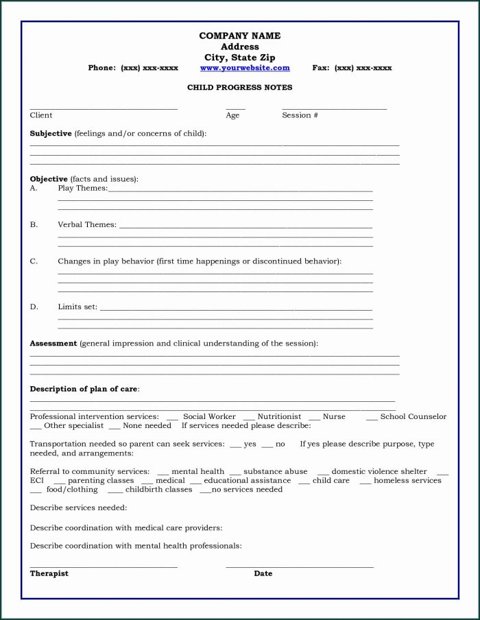 Printable Counseling Case Notes Template