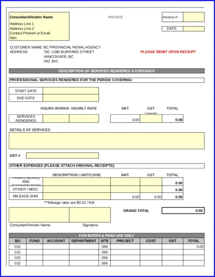 Printable Fillable Invoice Template Pdf